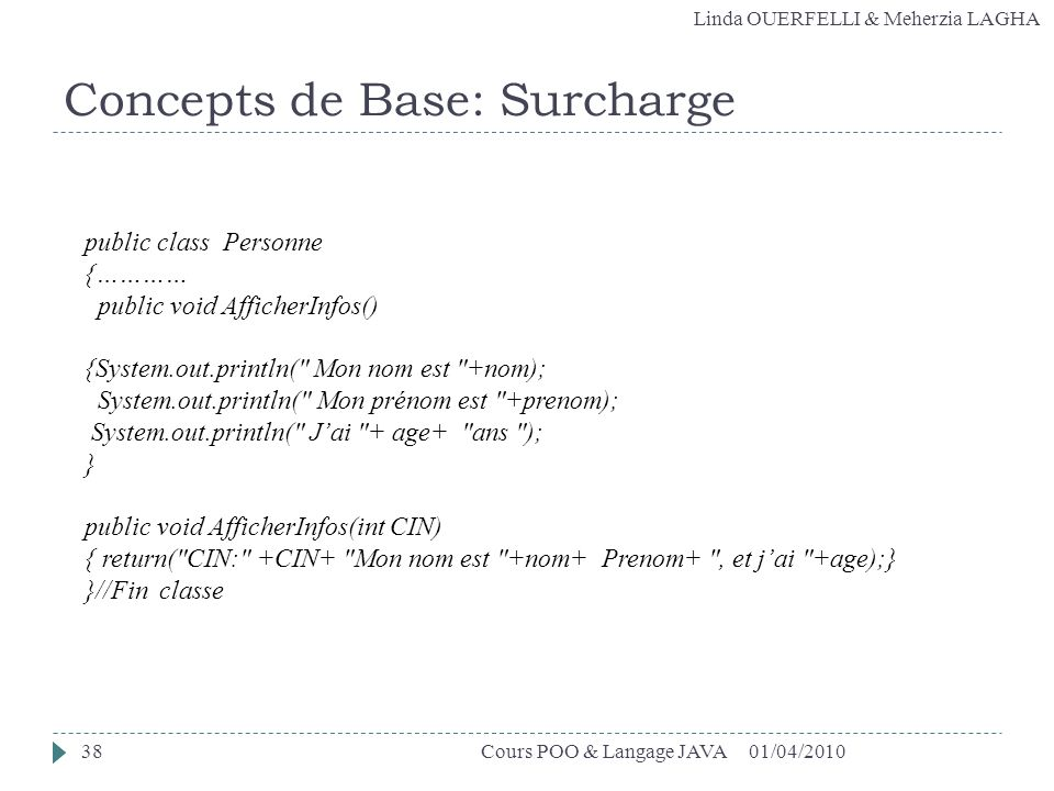 Concepts de Base: Surcharge