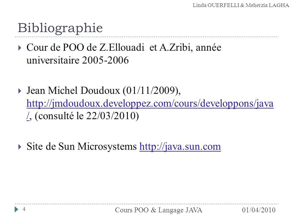 Bibliographie Cour de POO de Z.Ellouadi et A.Zribi, année universitaire 2005-2006.