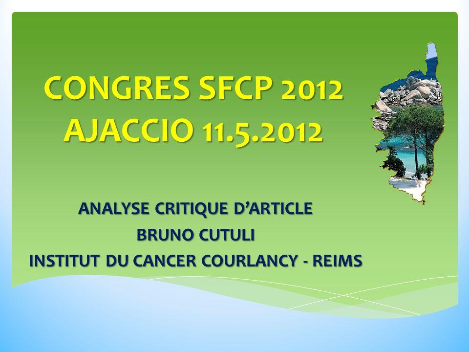 ANALYSE CRITIQUE D'ARTICLE INSTITUT DU CANCER COURLANCY - REIMS