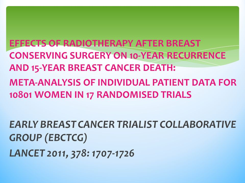 EARLY BREAST CANCER TRIALIST COLLABORATIVE GROUP (EBCTCG)
