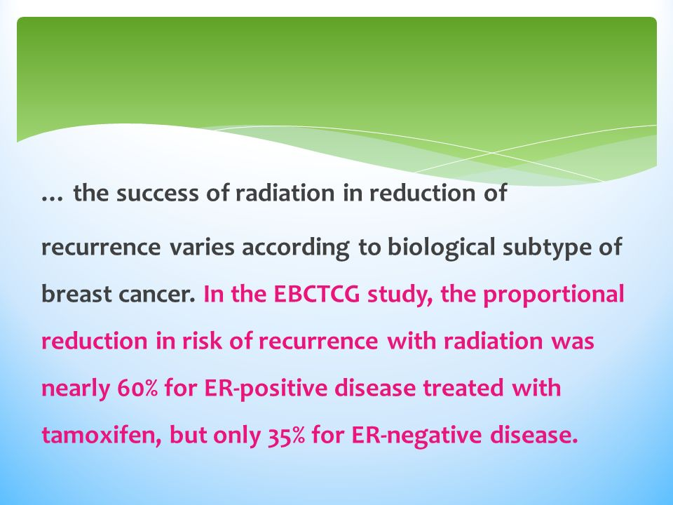 … the success of radiation in reduction of recurrence varies according to biological subtype of breast cancer.