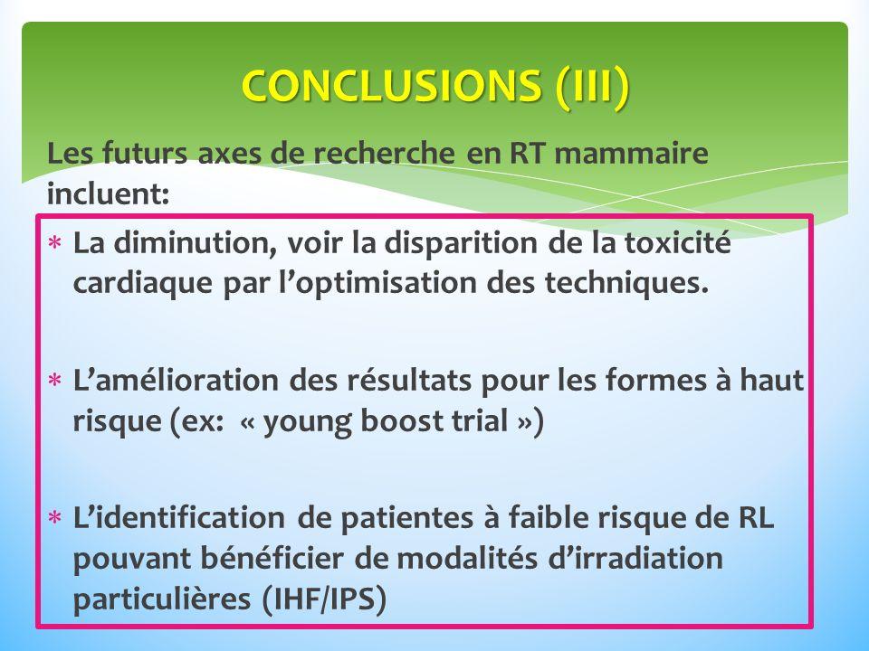 CONCLUSIONS (III) Les futurs axes de recherche en RT mammaire incluent: