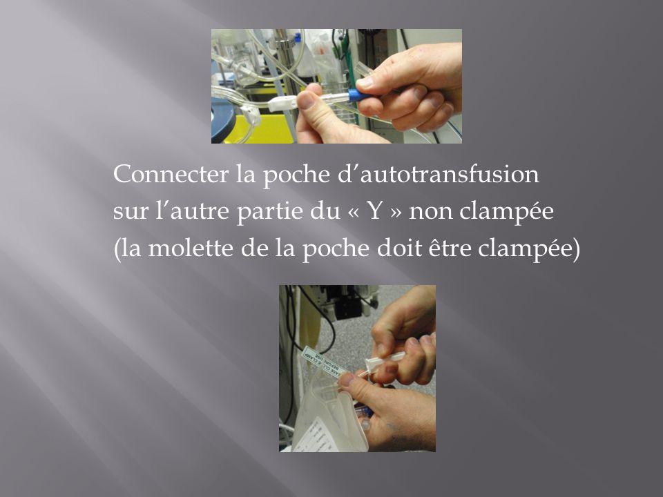 Connecter la poche d'autotransfusion sur l'autre partie du « Y » non clampée (la molette de la poche doit être clampée)