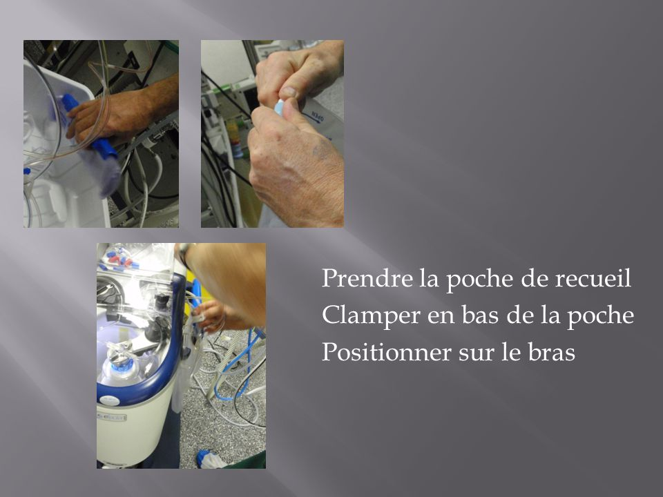 Prendre la poche de recueil Clamper en bas de la poche Positionner sur le bras