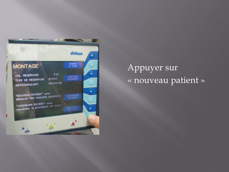 Appuyer sur « nouveau patient »