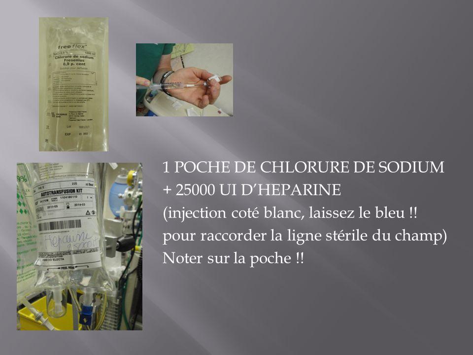 1 POCHE DE CHLORURE DE SODIUM + 25000 UI D'HEPARINE (injection coté blanc, laissez le bleu !.