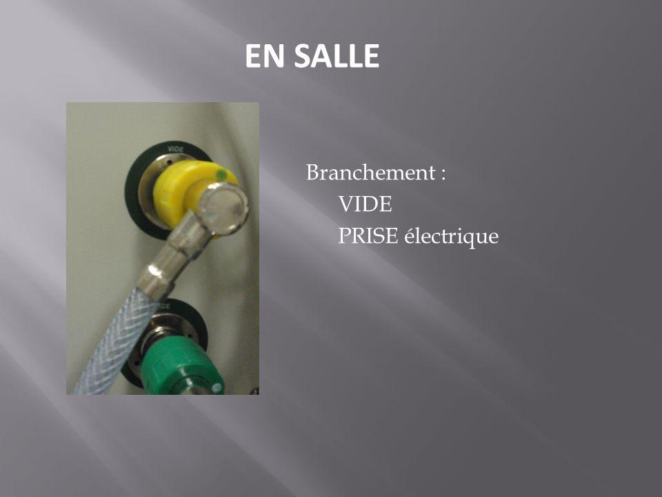 EN SALLE Branchement : VIDE PRISE électrique