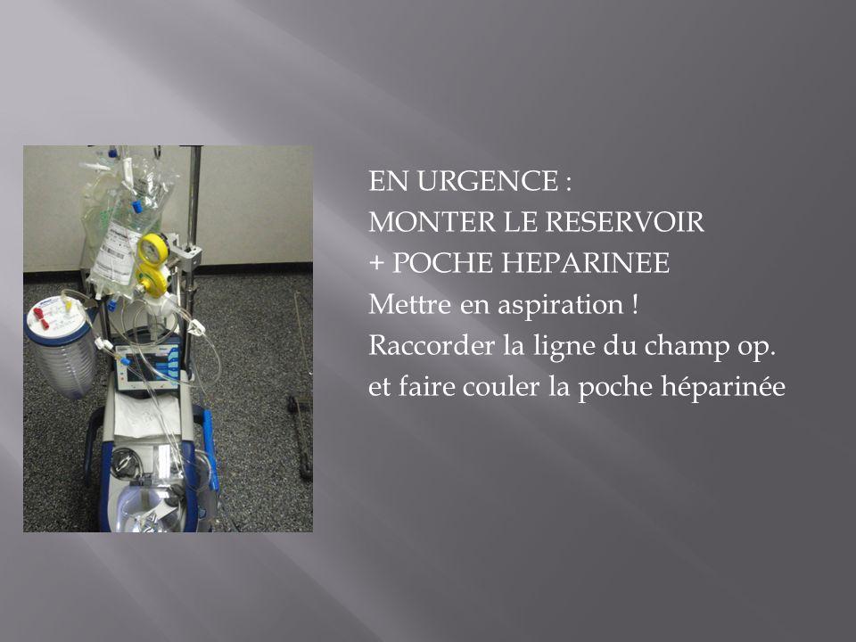 EN URGENCE : MONTER LE RESERVOIR + POCHE HEPARINEE Mettre en aspiration .