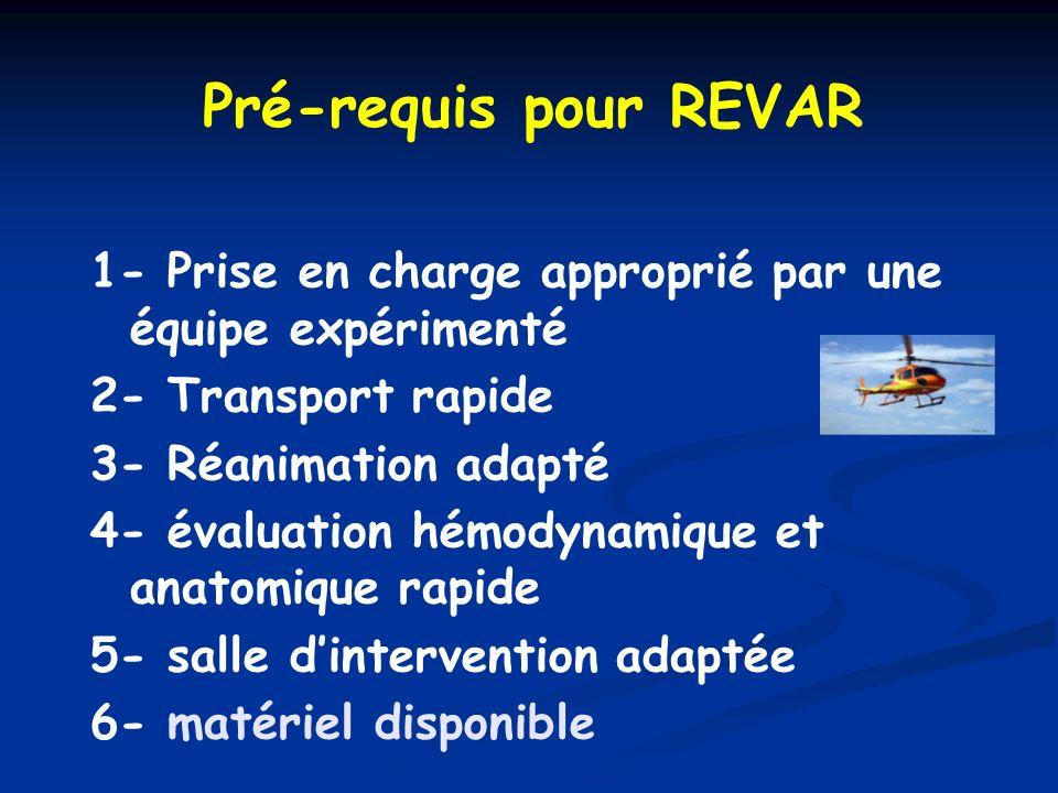 Pré-requis pour REVAR 1- Prise en charge approprié par une équipe expérimenté. 2- Transport rapide.