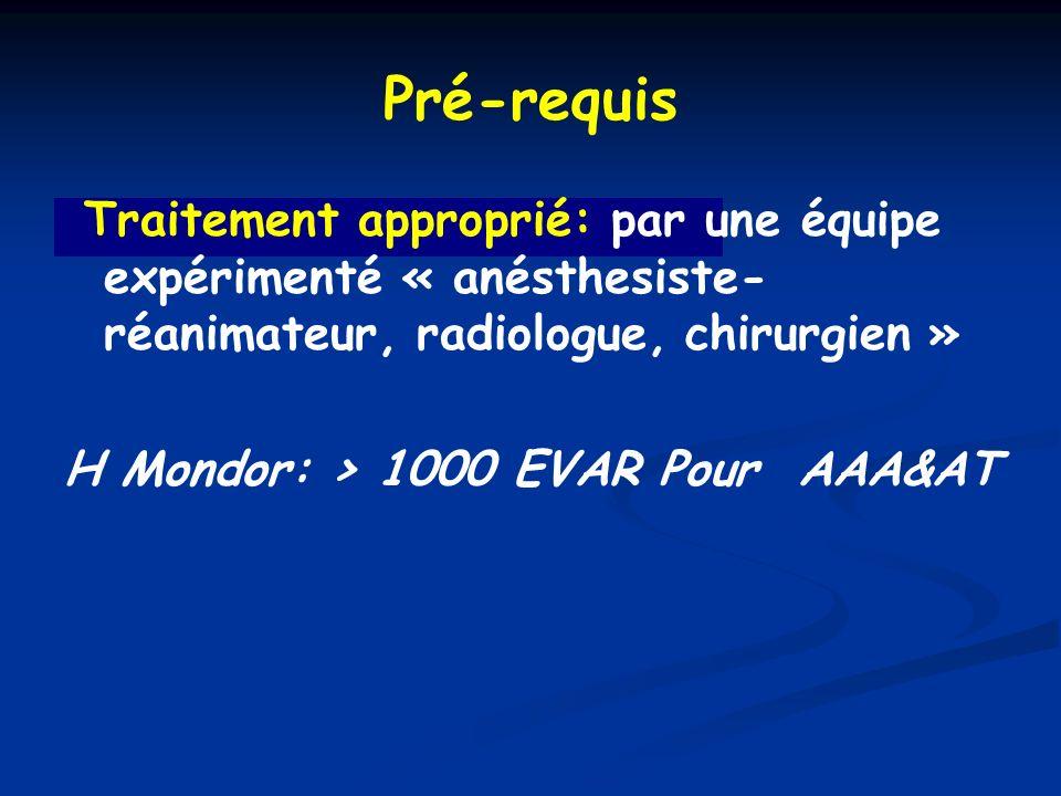 Pré-requis Traitement approprié: par une équipe expérimenté « anésthesiste-réanimateur, radiologue, chirurgien »