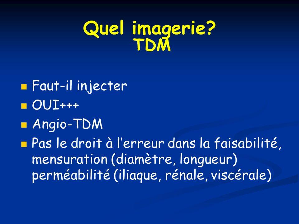 Quel imagerie TDM Faut-il injecter OUI+++ Angio-TDM