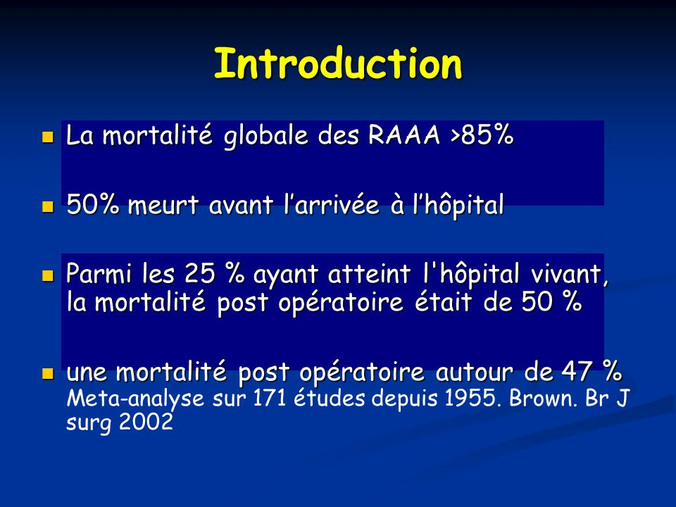 Introduction La mortalité globale des RAAA >85%