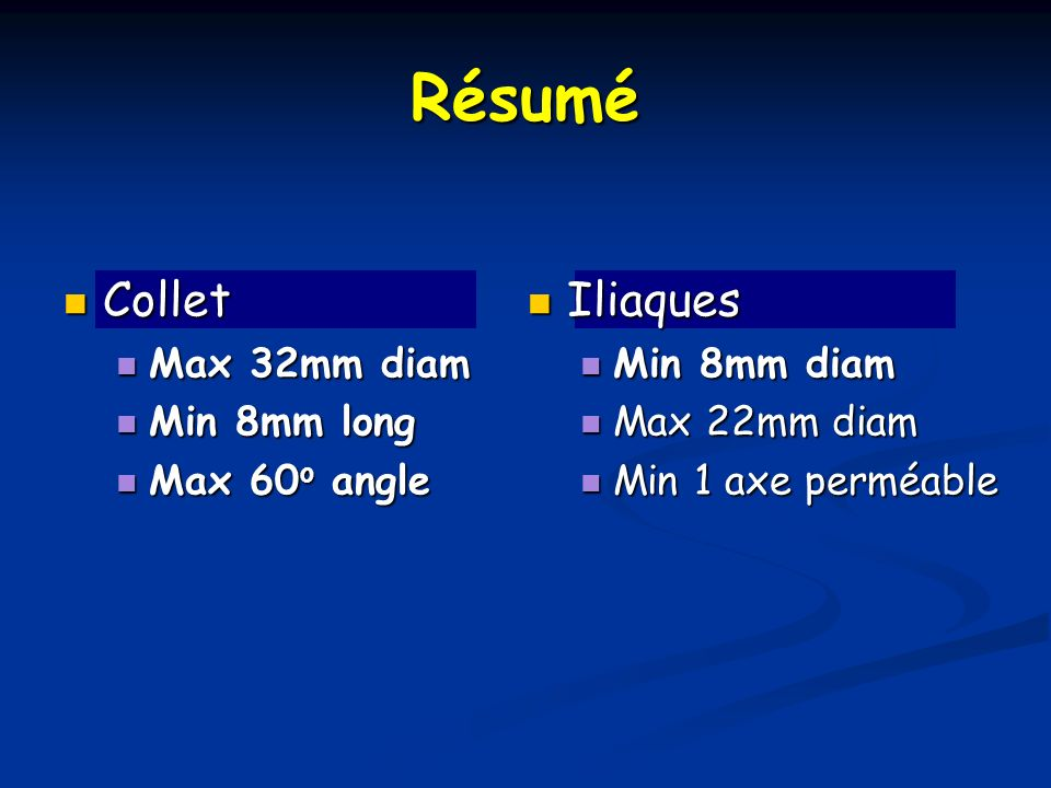 Résumé Collet Iliaques Max 32mm diam Min 8mm long Max 60o angle