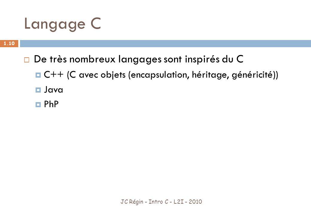 Langage C De très nombreux langages sont inspirés du C