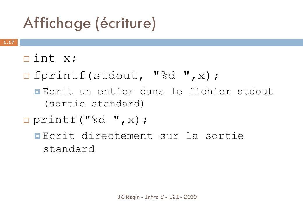 Affichage (écriture) int x; fprintf(stdout, %d ,x); printf( %d ,x);
