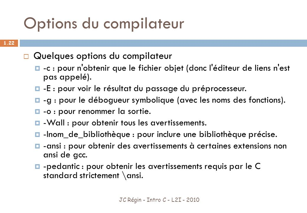 Options du compilateur