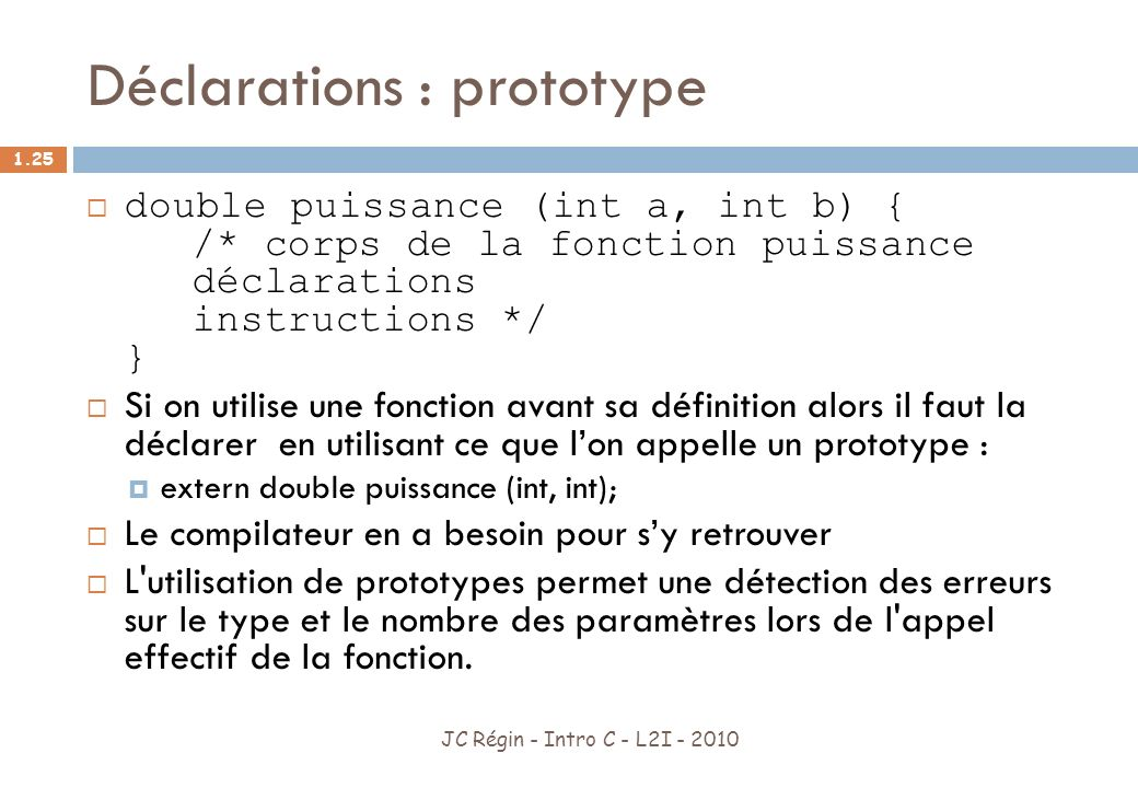 Déclarations : prototype