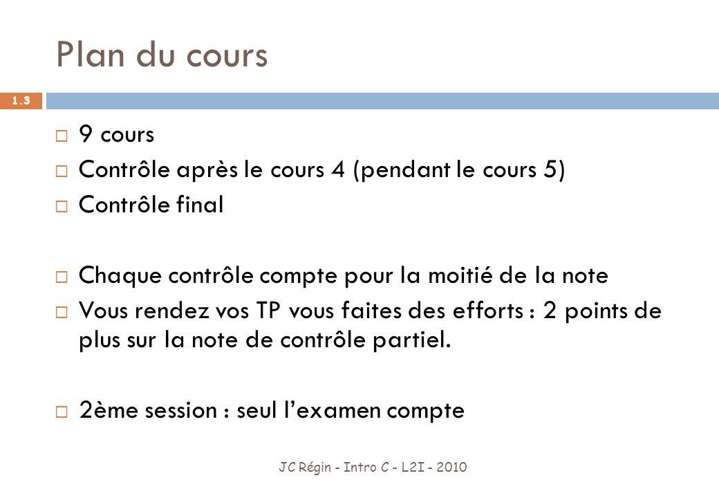 Plan du cours 9 cours Contrôle après le cours 4 (pendant le cours 5)