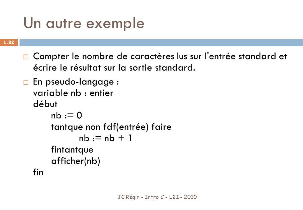 Un autre exemple Compter le nombre de caractères lus sur l entrée standard et écrire le résultat sur la sortie standard.