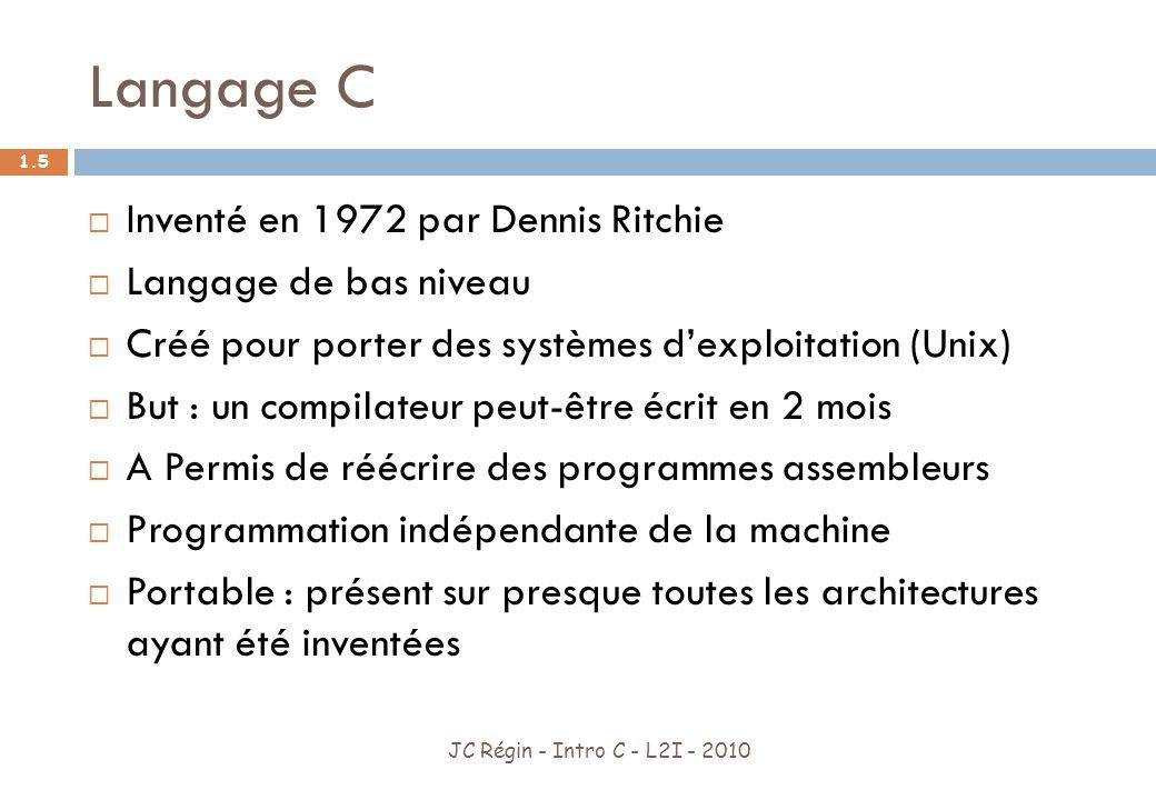 Langage C Inventé en 1972 par Dennis Ritchie Langage de bas niveau