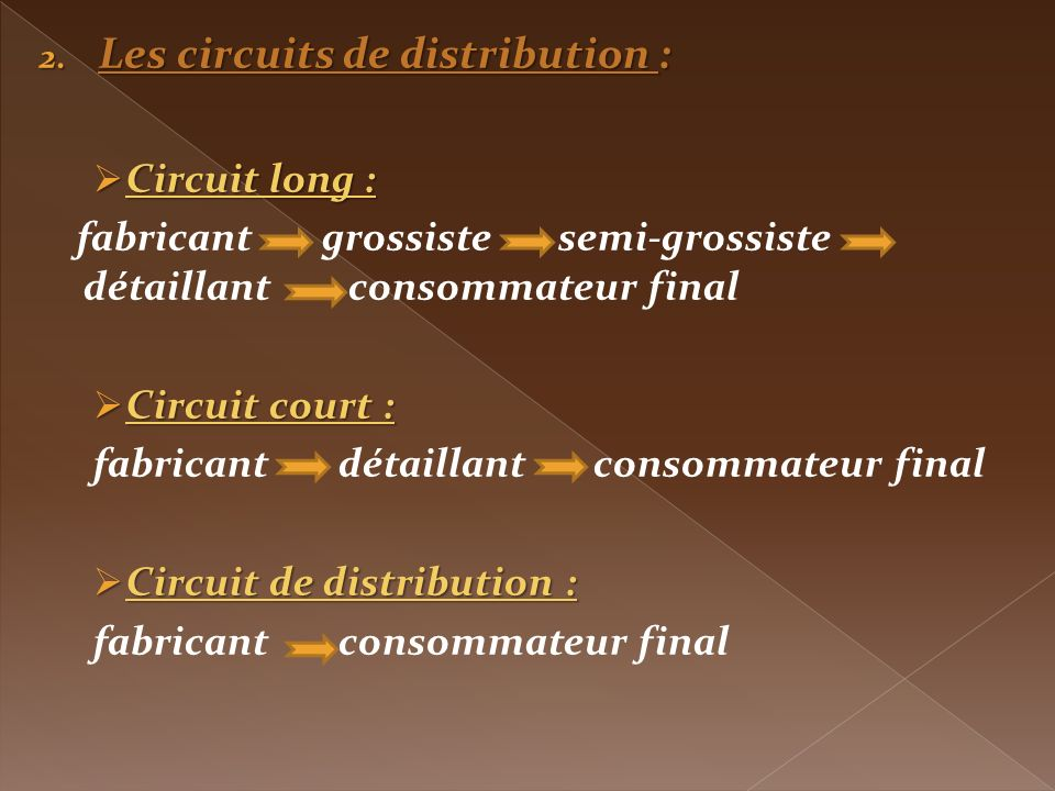 Les circuits de distribution :