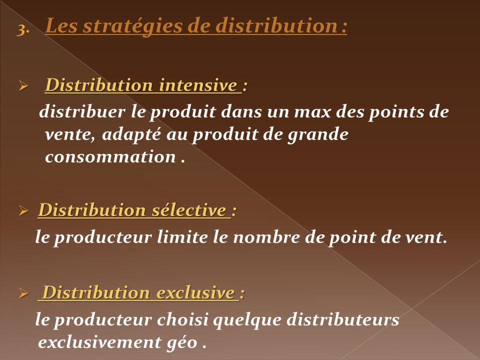 Les stratégies de distribution :