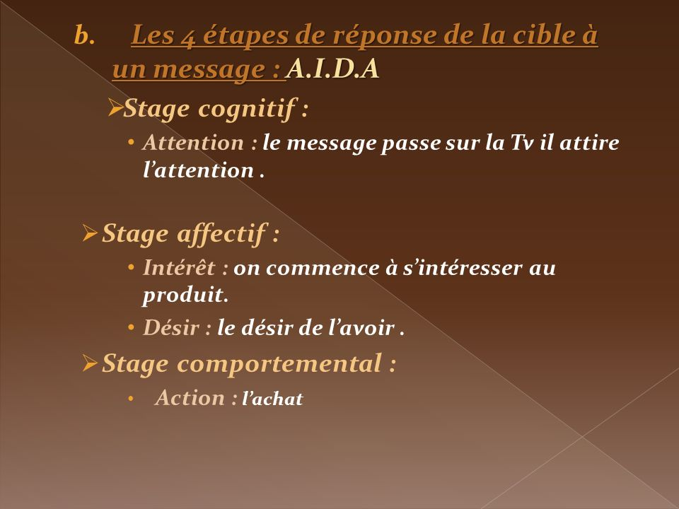 Les 4 étapes de réponse de la cible à un message : A.I.D.A