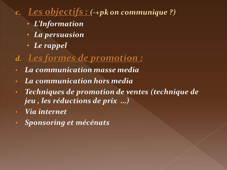 Les objectifs : (-+pk on communique )