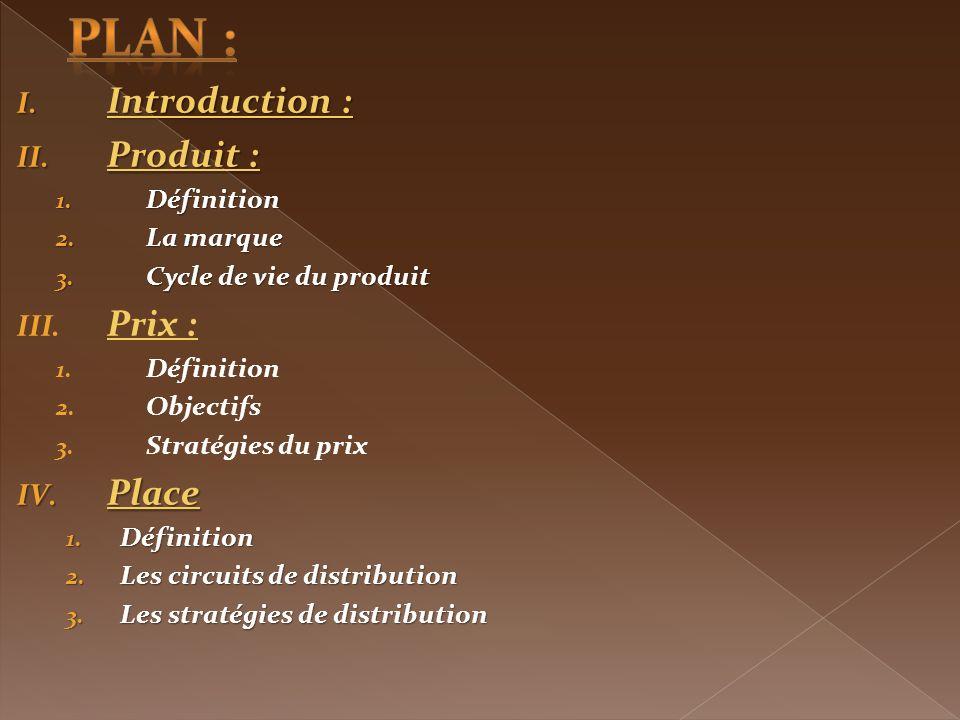 plan : Introduction : Produit : Prix : Place Définition La marque