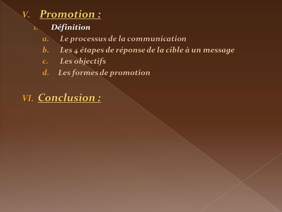 Promotion : Conclusion : Définition Le processus de la communication