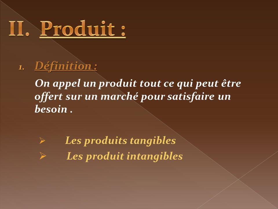 Produit : Définition : On appel un produit tout ce qui peut être offert sur un marché pour satisfaire un besoin .
