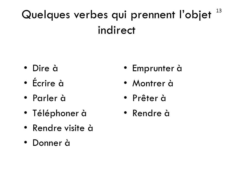 Quelques verbes qui prennent l'objet indirect