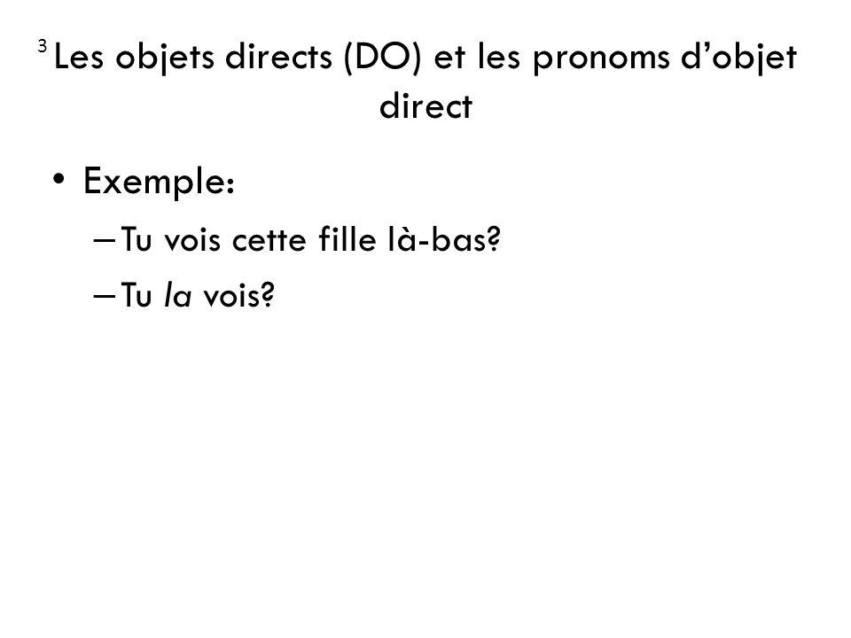 Les objets directs (DO) et les pronoms d'objet direct