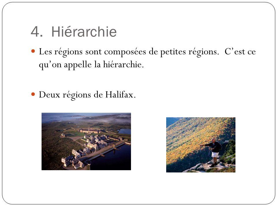 4. Hiérarchie Les régions sont composées de petites régions. C'est ce qu'on appelle la hiérarchie.