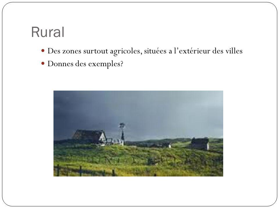 Rural Des zones surtout agricoles, situées a l'extérieur des villes