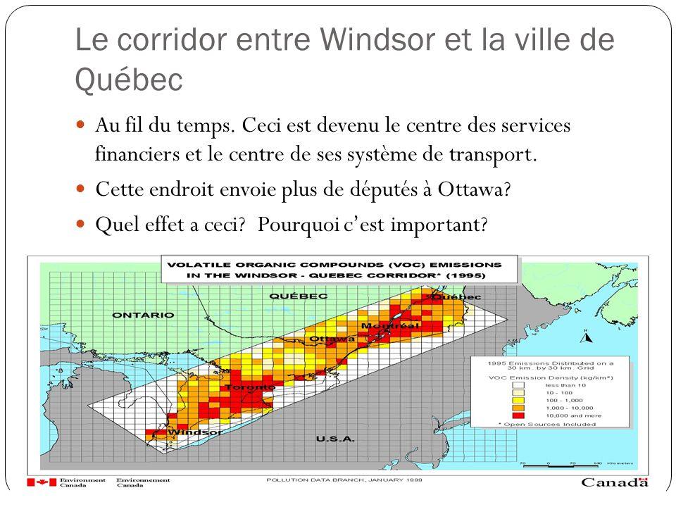 Le corridor entre Windsor et la ville de Québec