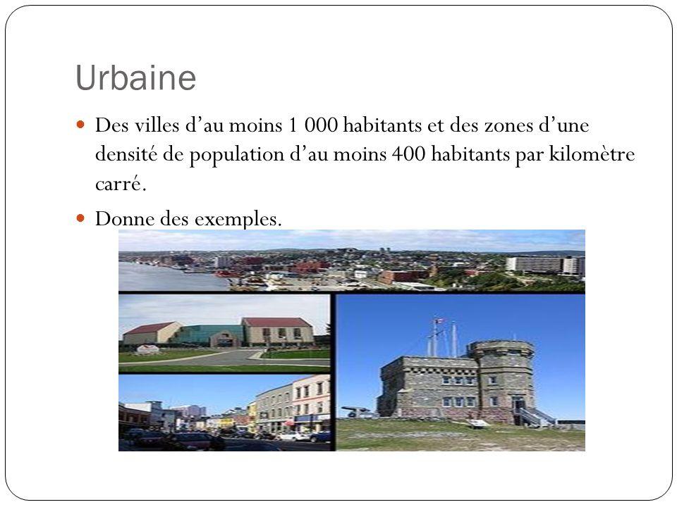 Urbaine Des villes d'au moins 1 000 habitants et des zones d'une densité de population d'au moins 400 habitants par kilomètre carré.