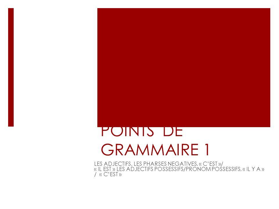 POINTS DE GRAMMAIRE 1 LES ADJECTIFS, LES PHARSES NEGATIVES, « C'EST »/