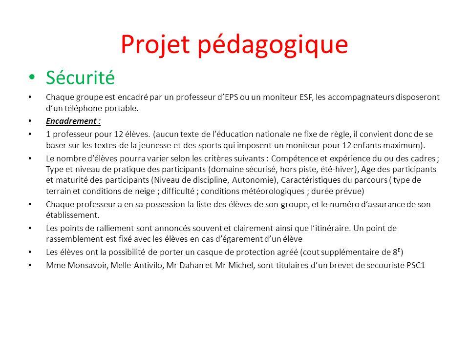 Projet pédagogique Sécurité