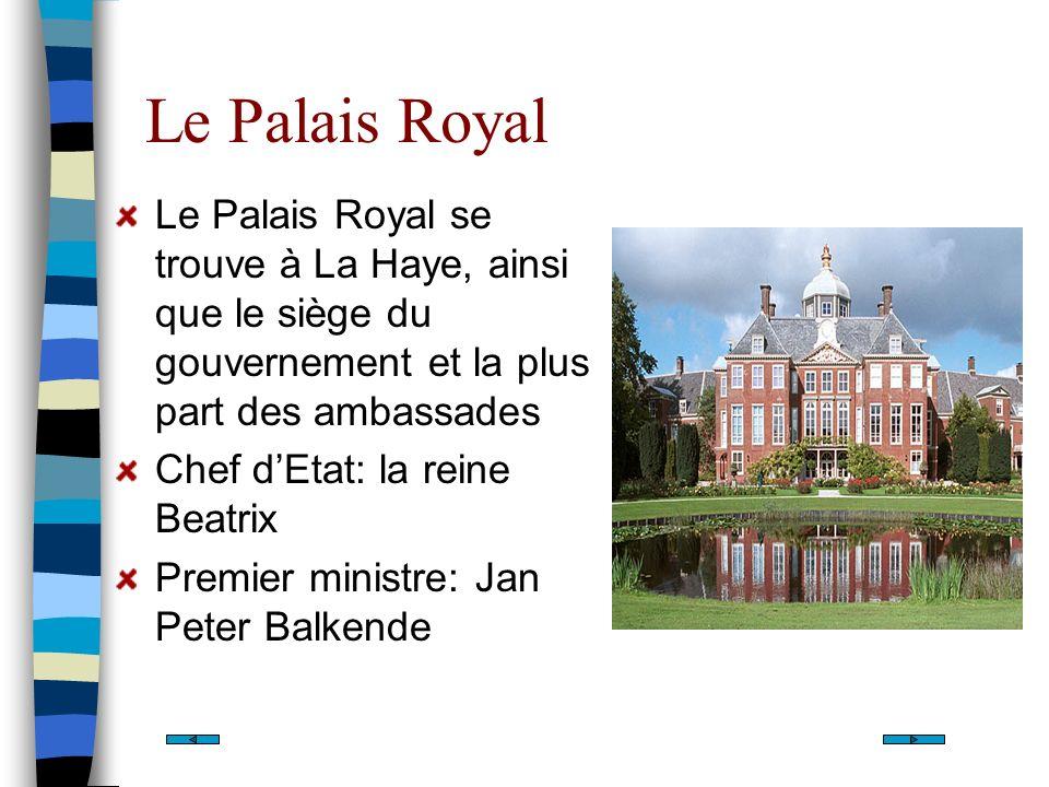 Le Palais Royal Le Palais Royal se trouve à La Haye, ainsi que le siège du gouvernement et la plus part des ambassades.