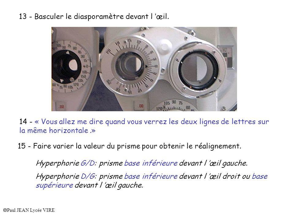 13 - Basculer le diasporamètre devant l 'œil.