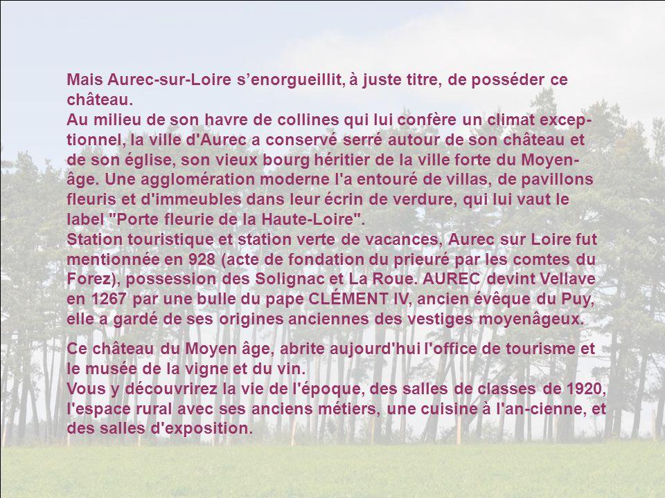 Mais Aurec-sur-Loire s'enorgueillit, à juste titre, de posséder ce château.