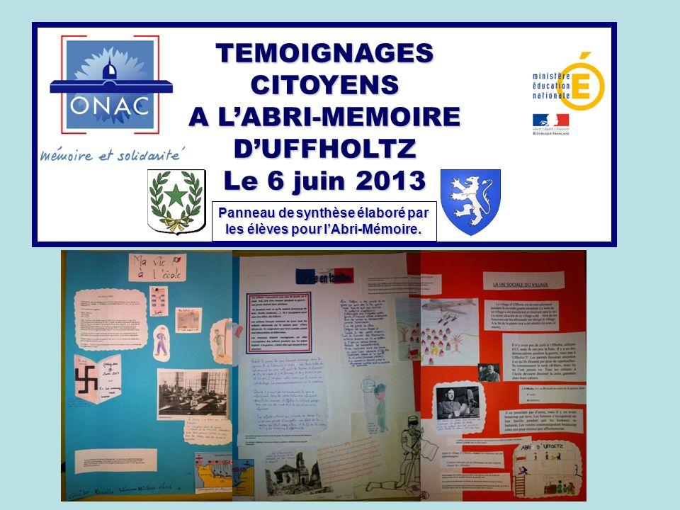 Panneau de synthèse élaboré par les élèves pour l'Abri-Mémoire.