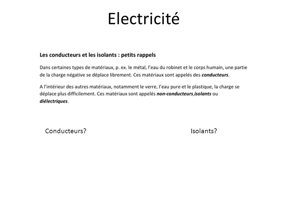 Electricité Conducteurs Isolants