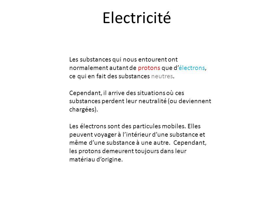 Electricité Les substances qui nous entourent ont normalement autant de protons que d'électrons, ce qui en fait des substances neutres.