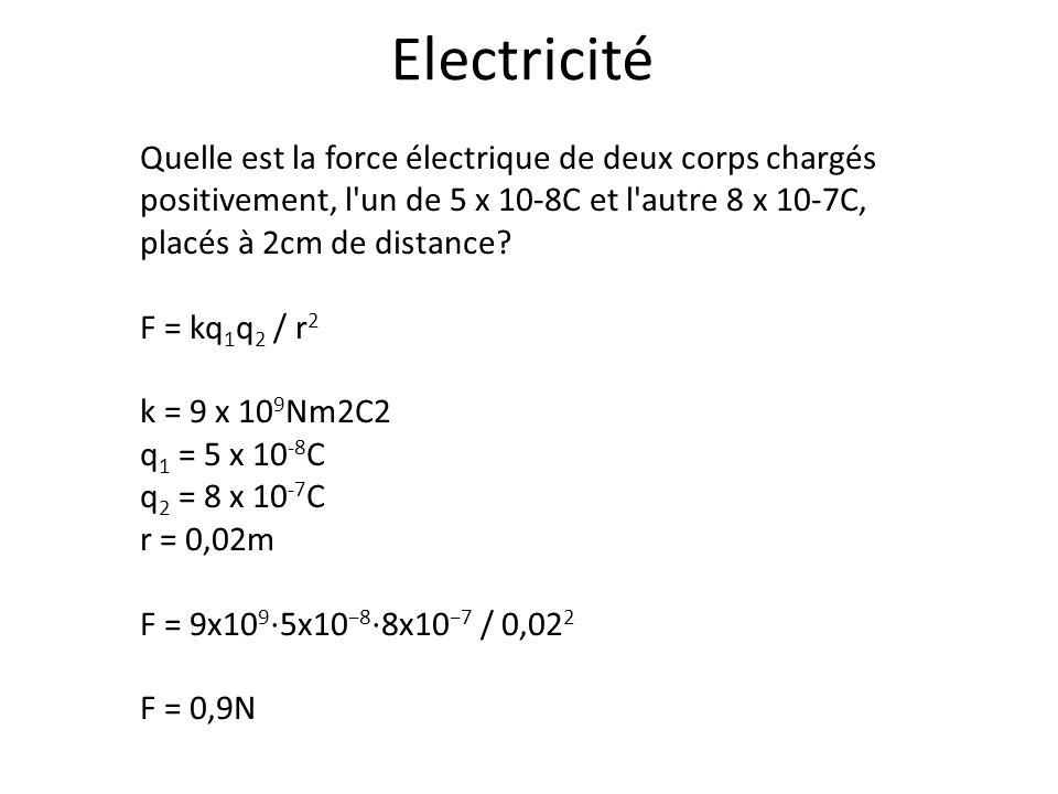 Electricité Quelle est la force électrique de deux corps chargés positivement, l un de 5 x 10-8C et l autre 8 x 10-7C, placés à 2cm de distance