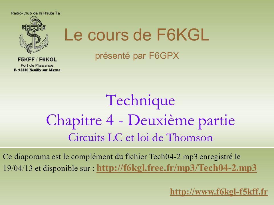 Technique Chapitre 4 - Deuxième partie Circuits LC et loi de Thomson