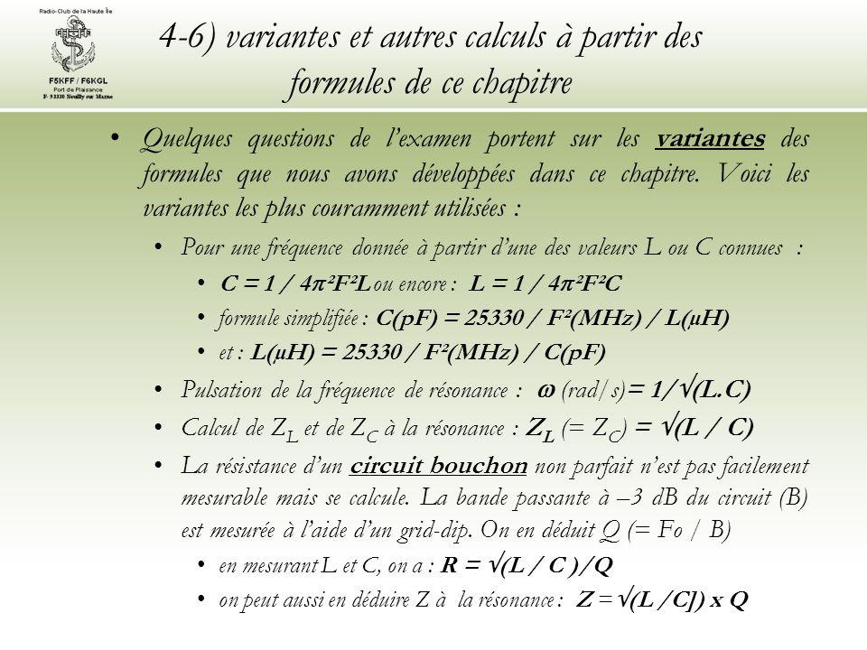 4-6) variantes et autres calculs à partir des formules de ce chapitre