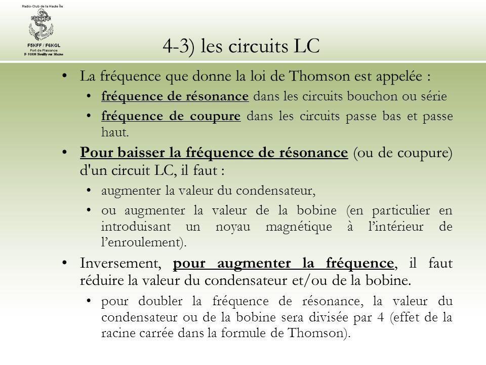 4-3) les circuits LC La fréquence que donne la loi de Thomson est appelée : fréquence de résonance dans les circuits bouchon ou série.