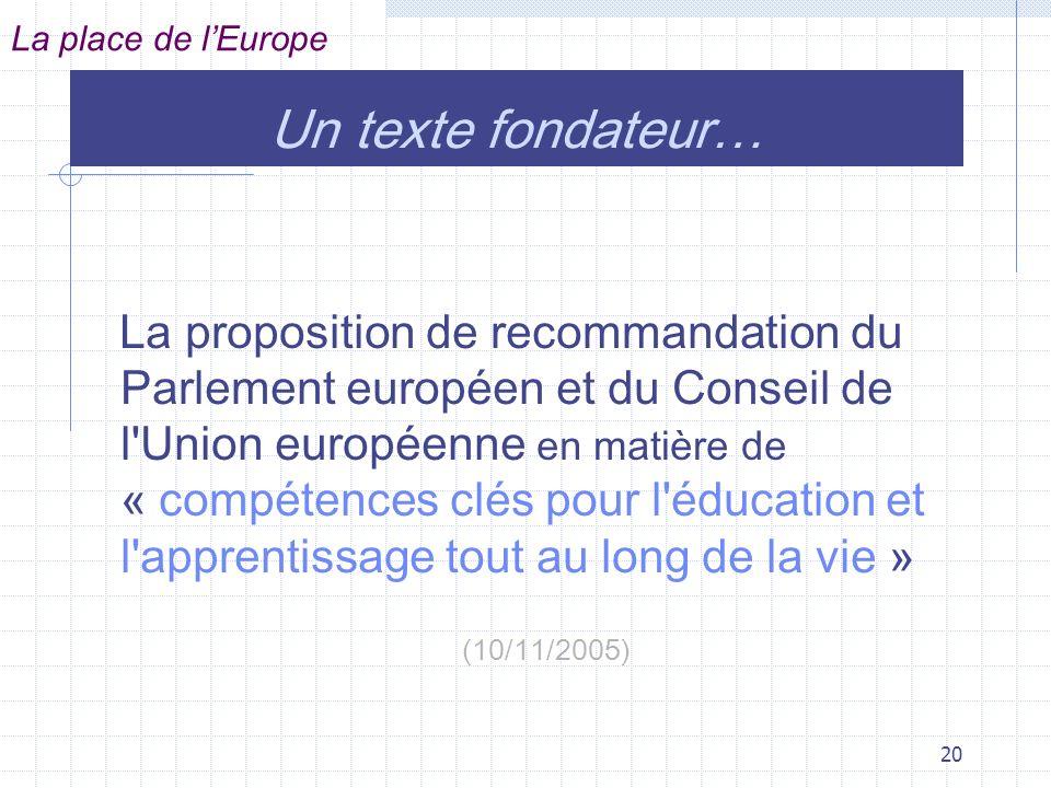 La place de l'Europe Un texte fondateur…